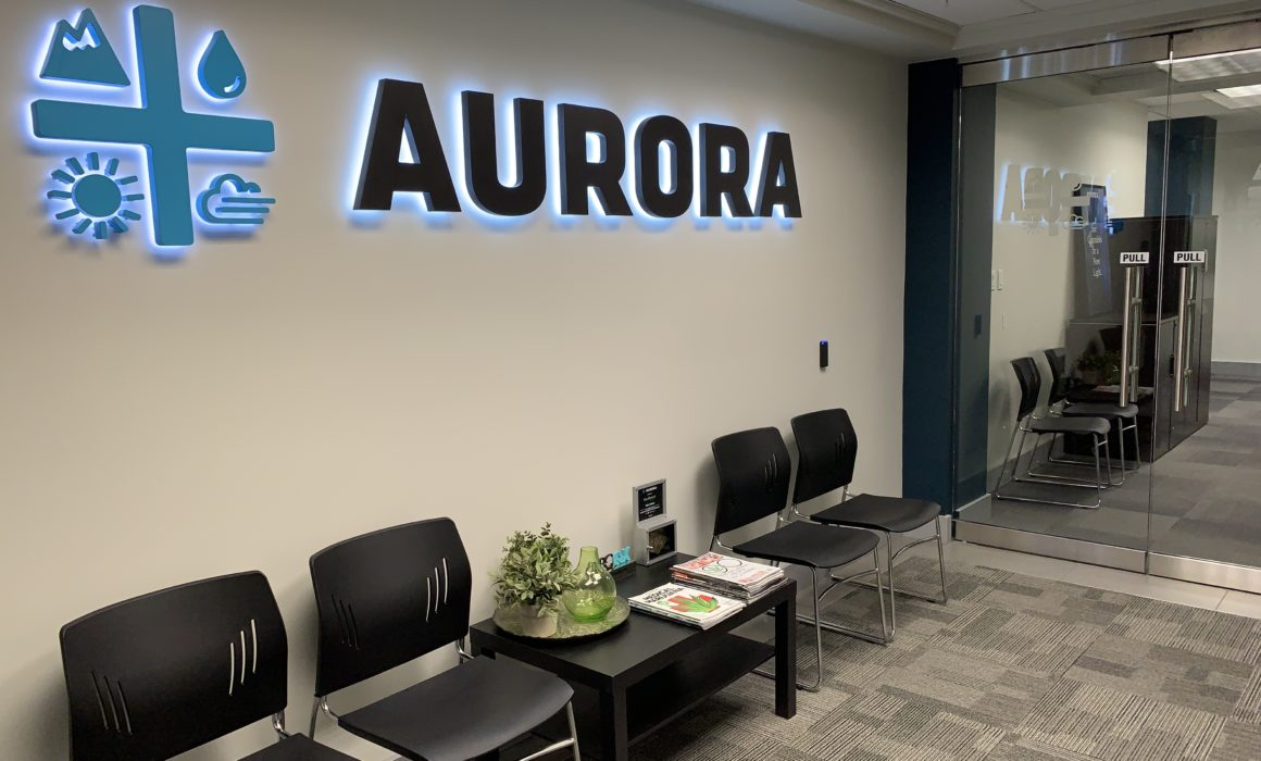 Aurora entrance sign